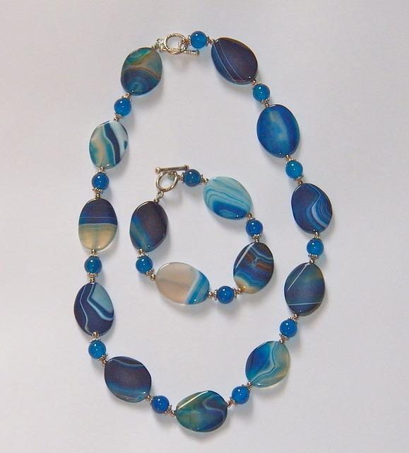 Blauwe agaat edelsteen ketting - Fragrantly geurkaarsen